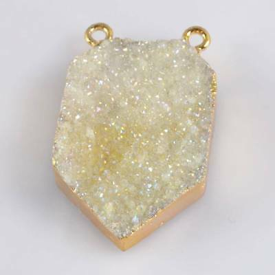 Natural Agate Druzy Titanium AB Connector Gold Plated T064915