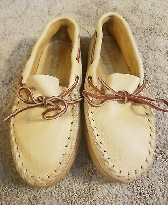 Men's LEATHER MOCCASINS, SIOUX-MOX Tru Stitch Comfortable USA Made SIZE 9