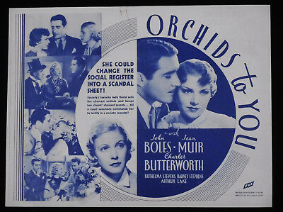 Orchids To You 1935 * John Boles * Jean Muir * Charles Butterworth * Rare Herald