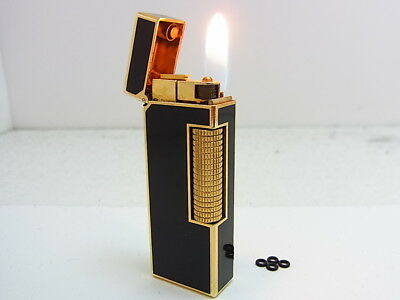 DUNHILL Rollagas Lighter Black Lacquer Gold Gas leaks W/4p O-rings