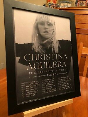 "FRAMED CHRISTINA AGUILERA ""LIBERATION TOUR 2018"" LP ALBUM CD PROMO AD w/ DATES!"