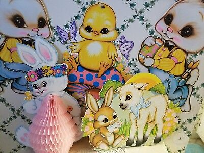 Vintage Beistle🐣🐰easter 8Pc Decorama Decorations Honeycomb Centerpiece+Cutouts
