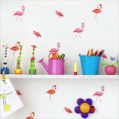 6 Sheets Flamingo Bird Animal Living Room Nature Wall Art Stickers Decal C