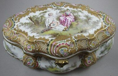 Large Antique Hand Painted Hinged Box with Fragonard Scene - Dresden Type