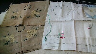 Mixed lot of transfer printed Vintage linen to embroider, started.