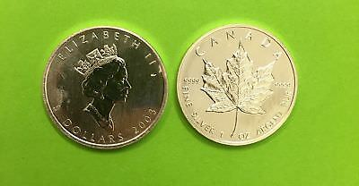 5 can-$  Maple Leaf 2003 Silber 1 Unze