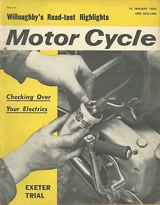 M/CYCLE magazine 16/1/64 feat. Elephant Rally, Exeter Trial, St Davids Trial