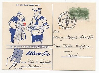 1966 NORWAY Cover SAVINGS BANK Illustrated Postcard HARSTAD to TROMSØ SG592