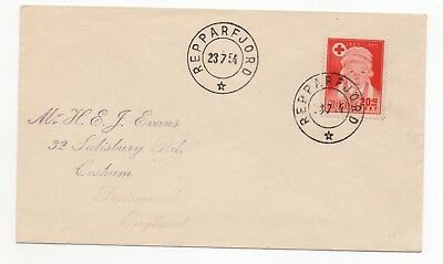 1954 NORWAY Cover REPPARFJORD to COSHAM PORTSMOUTH GB SG372 Red Cross