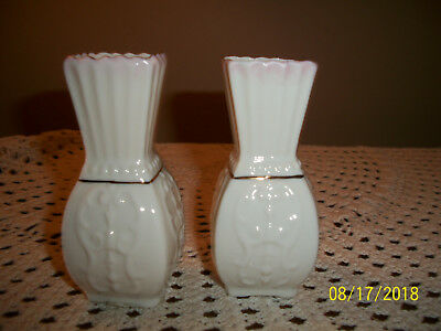 TWO Miniature Belleek Porcelain Vases Made in Ireland