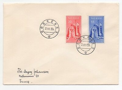 1955 NORWAY First Day Cover KING HAAKON VII JUBILEE Borkenes to Tromsø SG458/9