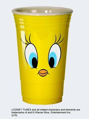 Looney Tunes Tweety Eyes Yellow 16oz Reusable Heavy Plastic Party Cup NEW UNUSED