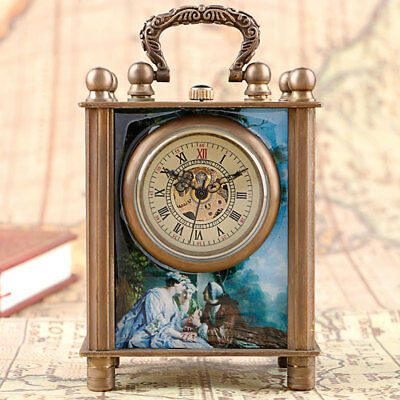 European Style Antique Painted Hand Winding Mechanical Desk Clocks Gift Box