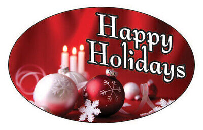 "HAPPY HOLIDAYS C&O LABELS 500 PER ROLL GREAT STICKERS 1.25"" x 2"""