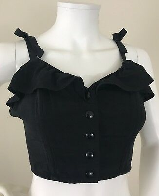 Small Vintage Ruffle Tank Crop Top Tie Shoulder Carole Laurent Button Black