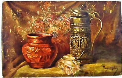 1910 Artist Signed Postcard Beer Stein And Vase With Rose