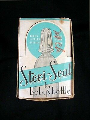 "Vintage Crystal Glass Baby Bottle Sanitary Nipple Cover- ""STERI-SEAL"" w/ BOX!"