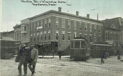 Printed Postcard 0950 Divided Back Unposted Goshen IN Main & Lincoln Trolley