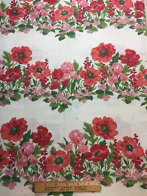 Vintage Cotton Feedsack Fabric 30s40s PRETTY Floral Rows EXC