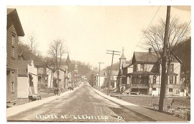 Center Street, Glenfield, 1910, PA Pennsylvania photo rppc Postcard