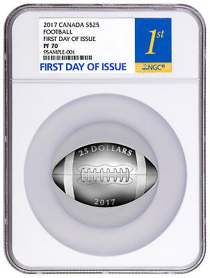 2017 Canada $25 1 oz Silver Football-Shaped NGC PF70 First Day Issue SKU44024