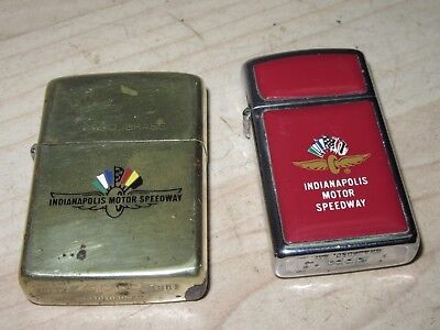 2 vintage Zippo Indianapolis Motor Speedway Chrome & Red  1 Brass 1980's