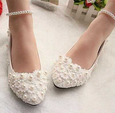 Women's white Bride Flats lace Wedding formal shoes pearls ankle trap Bridal
