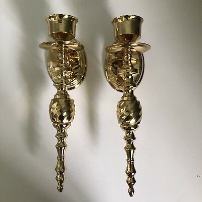 """Pair Vintage Solid Brass Wall Sconces For Taper Candles 12"""" India Shiny Brass"""