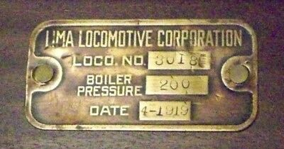 Lima Steam Locomotive Boiler Pressure Brass Plate   #3018   4-1919 Original Item