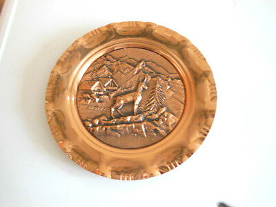 Lonval France  Hand Made Pure Solid Copper Wall Plaque/plate 10.5'' Diam