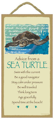 ADVICE FROM A SEA TURTLE wood SIGN wall hanging NOVELTY PLAQUE ocean animal USA