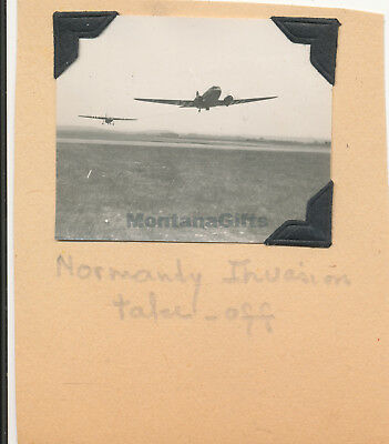1944 D-Day Normandy USAAF 435th TCG 77th TCS SMALL Photo Take off C-47 & glider