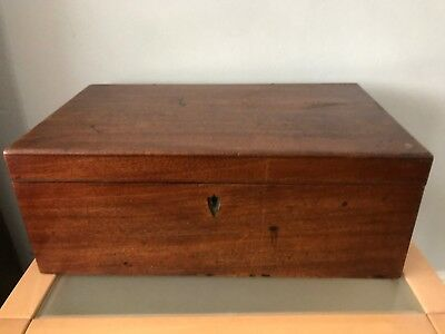 Victorian Large Wooden Writing Box With Secret Drawer