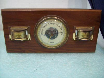 Vintage Focal Barometer Hydrometer Thermometer  Wood and Brass