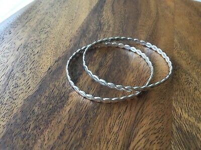 Two Solid Sterling Silver Hallmarked 925 Bangle Bracelets 21.5grms