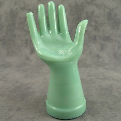 Jadeite Green Glass Jewelry Ring Display Hand ~ Accessory Holder Mannequin ~