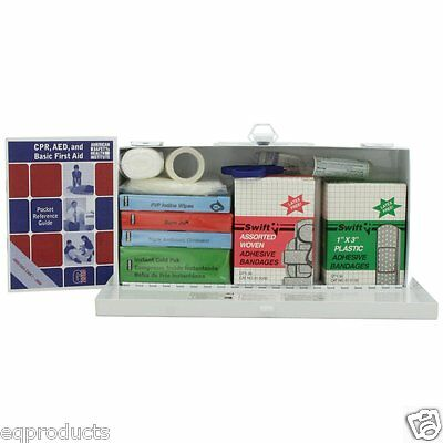 New First Aid Kit For Home, Office, Business  Steel Case & Handle Free Shipping!