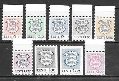 "ESTONIA - 1991.  ""State Arms"" definitives - Set of 9, MNH"