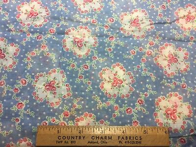 Vintage Cotton Lawn Fabric 30s40s SWEET Floral Novelty 35w 1yd