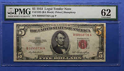 1953 $5 Legal Tender Note. Red Seal. PMG 62. Uncirculated.