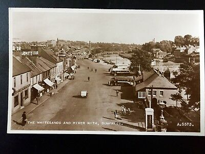 Real Photo Postcard UK Drumfries Whitesands Street View c 1930