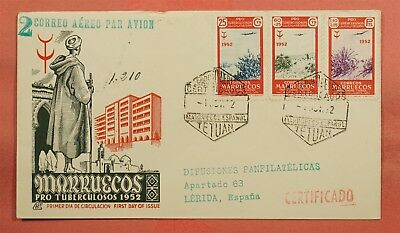1952 Spanish Morocco Fdc Tuberculosis Airmail To Spain