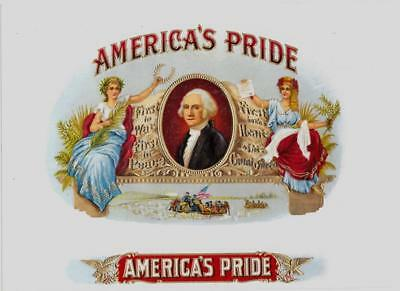 America's Pride Inner Cigar Box Label George Washington Our First President