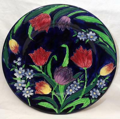 Beautiful Antique Vintage Maling Large Charger Plate with Tulips #1