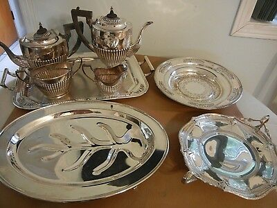VERY NICE LOT 10 lbs.  VINTAGE SILVERPLATE , TEA COFFEE SET , 4 TRAY / PLATER