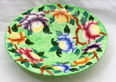Beautiful Antique Vintage Maling Large Shallow Pedestal Bowl with Flowers #2