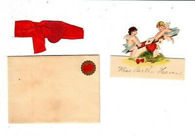 Miniature easel Backed German Valentine, Ribbon Wrapped Envelope, with Heart