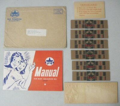 1942 JACK ARMSTRONG WRITE-A-FIGHTER CORPS WAFC MANUAL with ENVELOPE & INSIGNIA