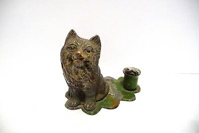 Thimble/candle Holder Vintage Tin Germany Handpainted Figural Of A Cat