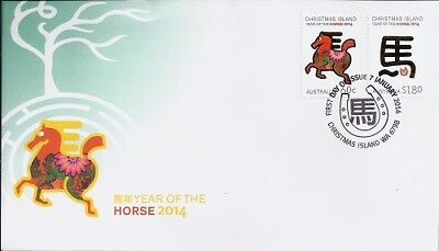 2014 Christmas Island - Year of the Horse First Day Cover FDI